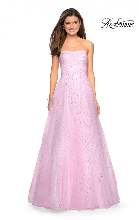 Picture of: Strapless Fully Rhinestone A-Line Prom Dress in Light Pink, Style: 27630, Detail Picture 3