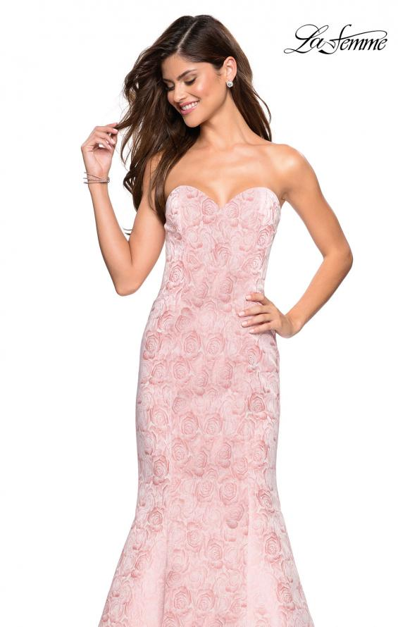 Picture of: Floral Strapless Floor Length Mermaid Prom Gown in Light Pink, Style: 26975, Detail Picture 4