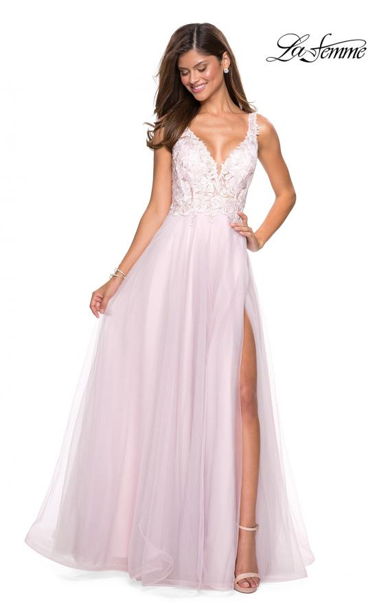 Picture of: Floor Length Tulle Gown with Plunging Lace Bodice, Style: 27621, Detail Picture 4