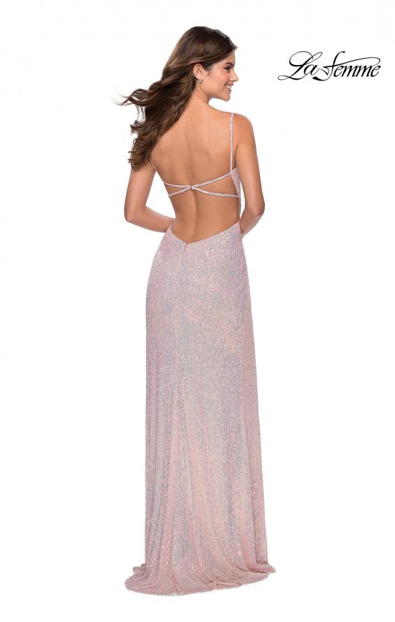 Picture of: Long Sequin Gown in Pastel Colors in Light Pink, Style: 28441, Detail Picture 4