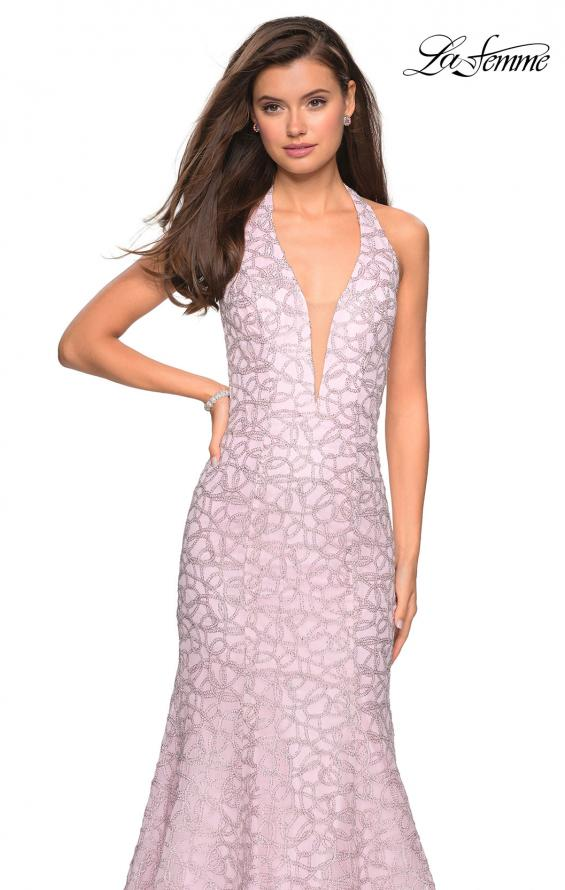 Picture of: Metallic Lace Halter Long Prom Dress with Open Back in Light Pink, Style: 27228, Detail Picture 5
