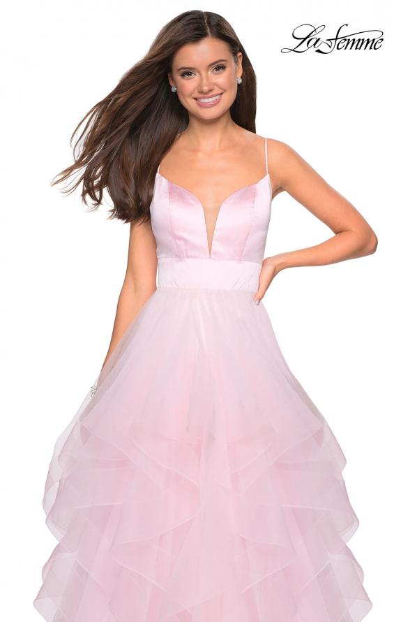 Picture of: Tulle A Line Dress with Plunging Sweetheart Neckline in Light Pink, Style: 27024, Detail Picture 6