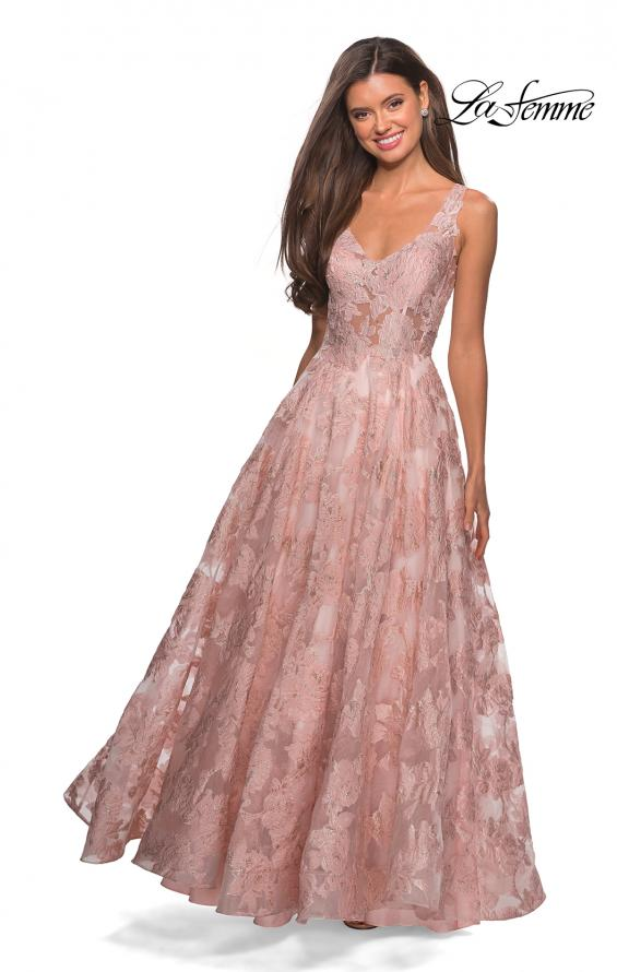Picture of: Floral A Line Dress with Sheer Bodice and V Back in Light Pink, Style: 27505, Detail Picture 6