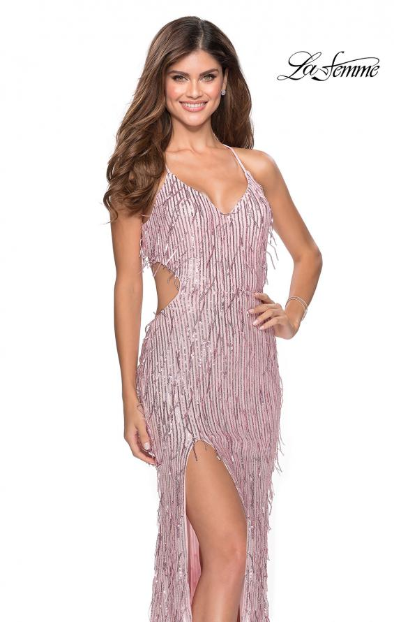 Picture of: Long Fringe Sequin Prom Dress with Cut Outs in Light Pink, Style: 28609, Detail Picture 6