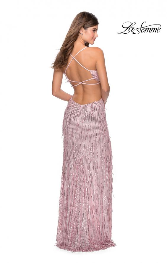 Picture of: Long Fringe Sequin Prom Dress with Cut Outs in Light Pink, Style: 28609, Detail Picture 7