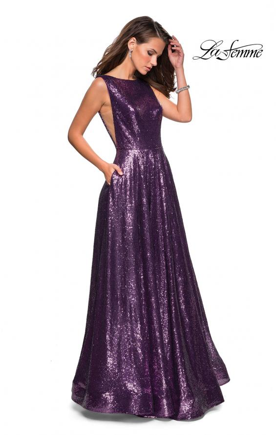 Picture of: Fully sequin A Line Gown with Illusion Sides, Style: 27061, Main Picture