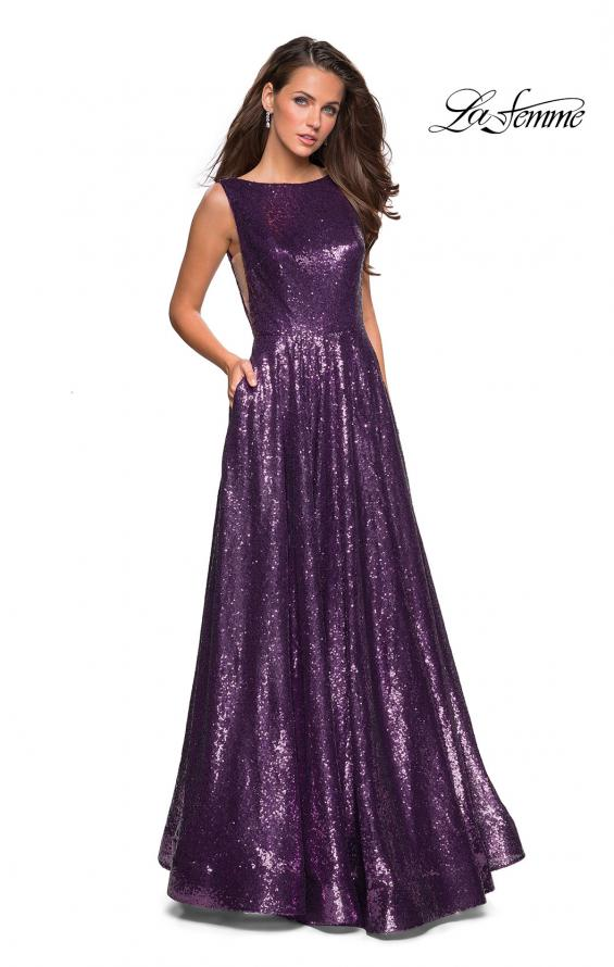 Picture of: Fully sequin A Line Gown with Illusion Sides, Style: 27061, Detail Picture 2
