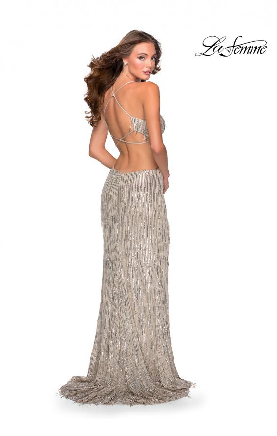 Picture of: Long Fringe Sequin Prom Dress with Cut Outs in Light Silver, Style: 28609, Back Picture