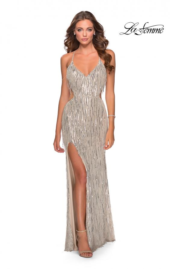 Picture of: Long Fringe Sequin Prom Dress with Cut Outs in Light Silver, Style: 28609, Detail Picture 4