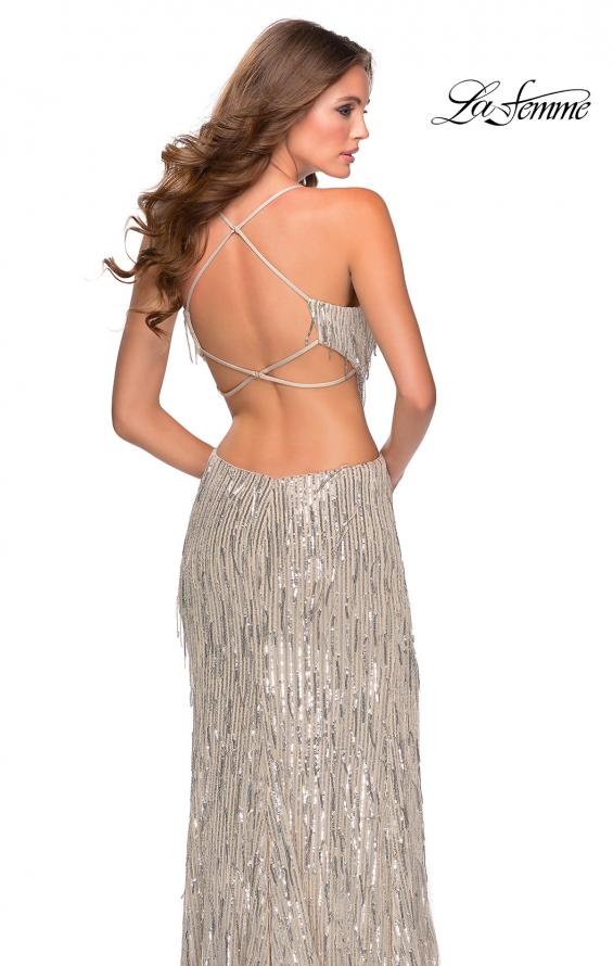 Picture of: Long Fringe Sequin Prom Dress with Cut Outs in Light Silver, Style: 28609, Detail Picture 5