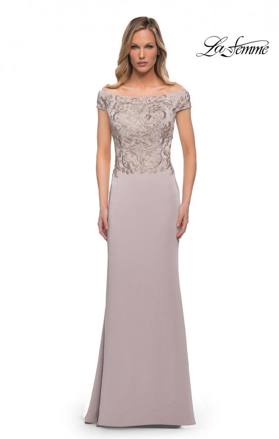 Picture of: Chic Satin Gown with Lace Off the Shoulder Top in Light Taupe, Main Picture