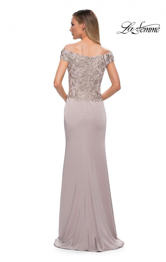 Picture of: Chic Satin Gown with Lace Off the Shoulder Top in Light Taupe, Back Picture