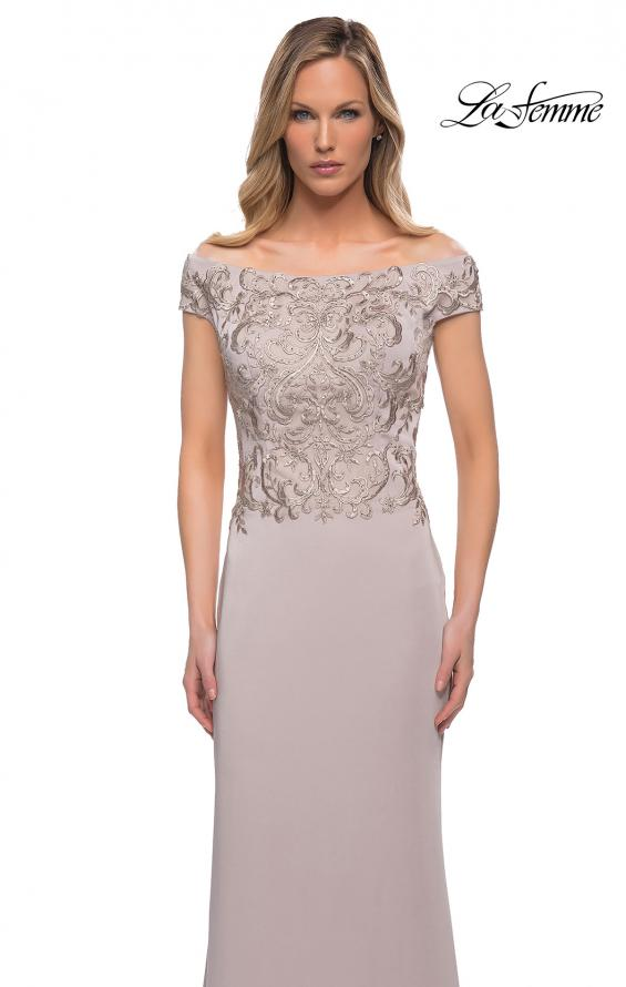 Picture of: Chic Satin Gown with Lace Off the Shoulder Top in Light Taupe, Detail Picture 1