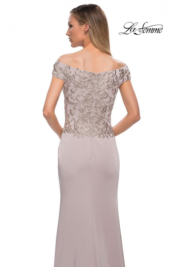 Picture of: Chic Satin Gown with Lace Off the Shoulder Top in Light Taupe, Detail Picture 2