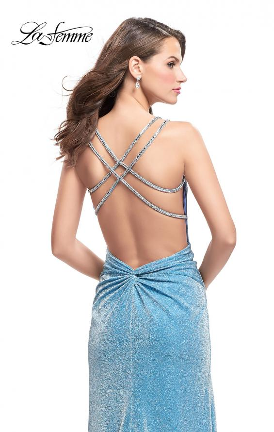Picture of: Long Sparkling Prom Dress with Beaded Straps and Slit in Light Blue, Style: 25812, Back Picture