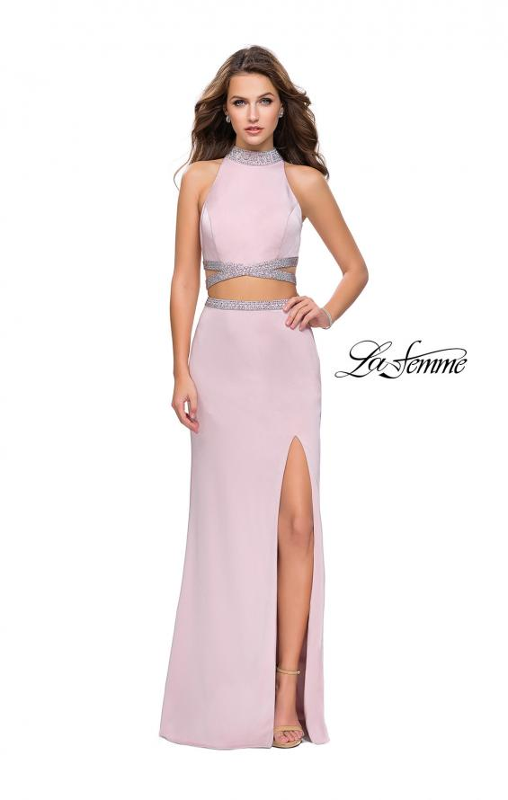 Picture of: Two Piece Prom Gown with Beaded Choker and Leg Slit, Style: 25746, Detail Picture 2