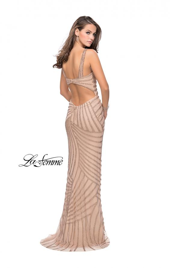 Picture of: Metallic Beaded Prom Dress with Sweetheart Neckline in Light Gold, Style: 25873, Back Picture