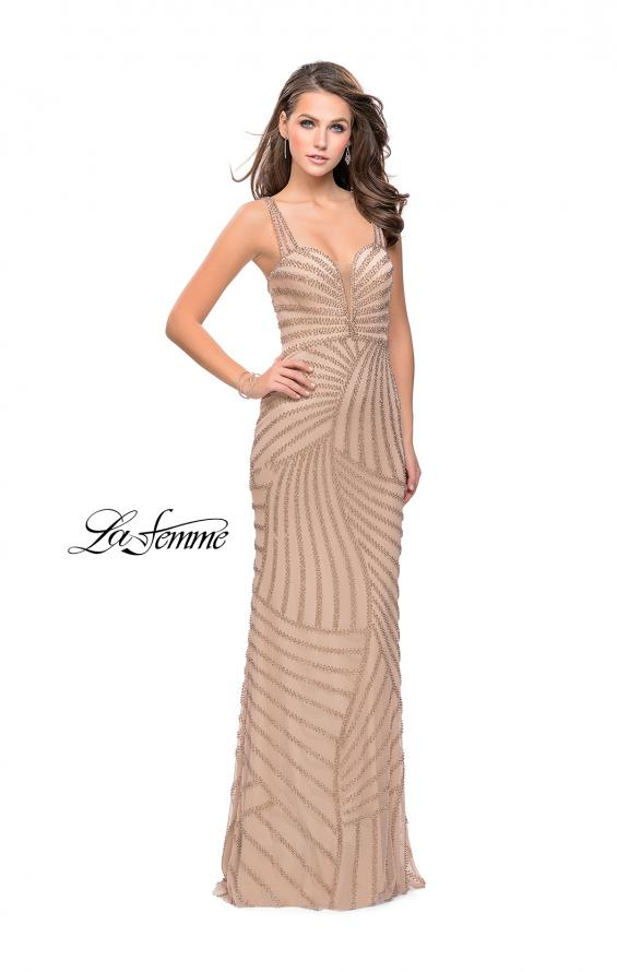 Picture of: Metallic Beaded Prom Dress with Sweetheart Neckline in Light Gold, Style: 25873, Detail Picture 1