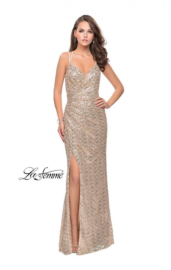 Picture of: Long Sequin Prom Dress with Side Ruching in Light Gold, Style: 25492, Detail Picture 2