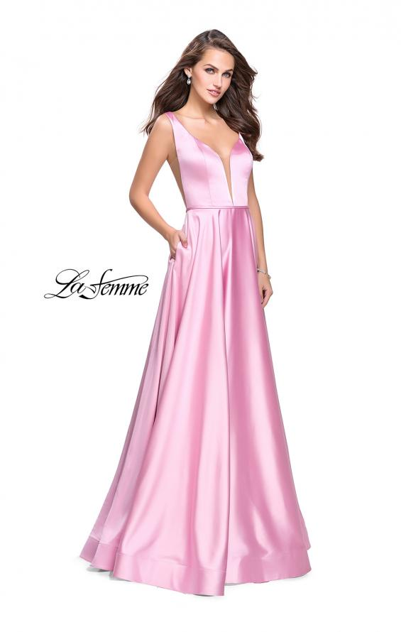 Picture of: Satin A line Prom Dress with Deep V Back in Light Pink, Style: 25455, Main Picture