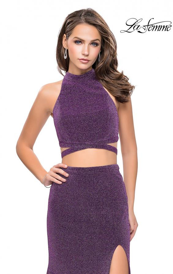 Picture of: Two Piece Jersey Prom Dress with Open Back and Leg Slit in Light Purple, Style: 25604, Detail Picture 3