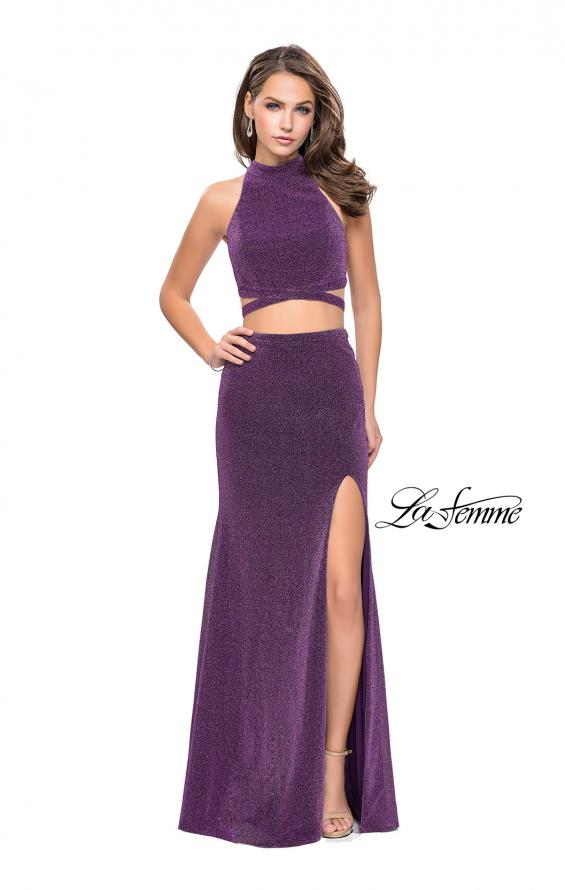Picture of: Two Piece Jersey Prom Dress with Open Back and Leg Slit in Light Purple, Style: 25604, Detail Picture 5
