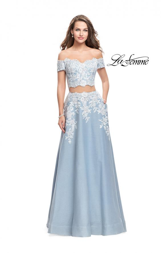 Picture of: Denim Off the Shoulder Two Piece Dress with Applique in Light Wash, Style: 25655, Main Picture