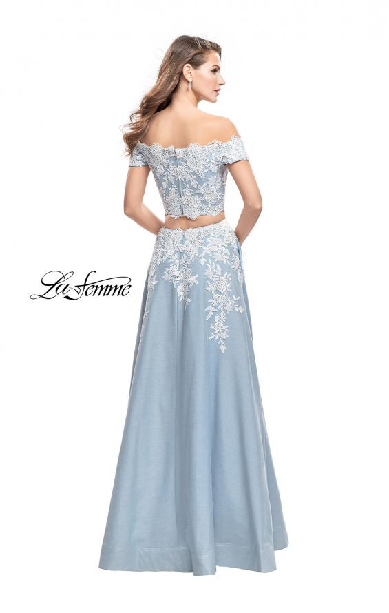 Picture of: Denim Off the Shoulder Two Piece Dress with Applique in Light Wash, Style: 25655, Back Picture