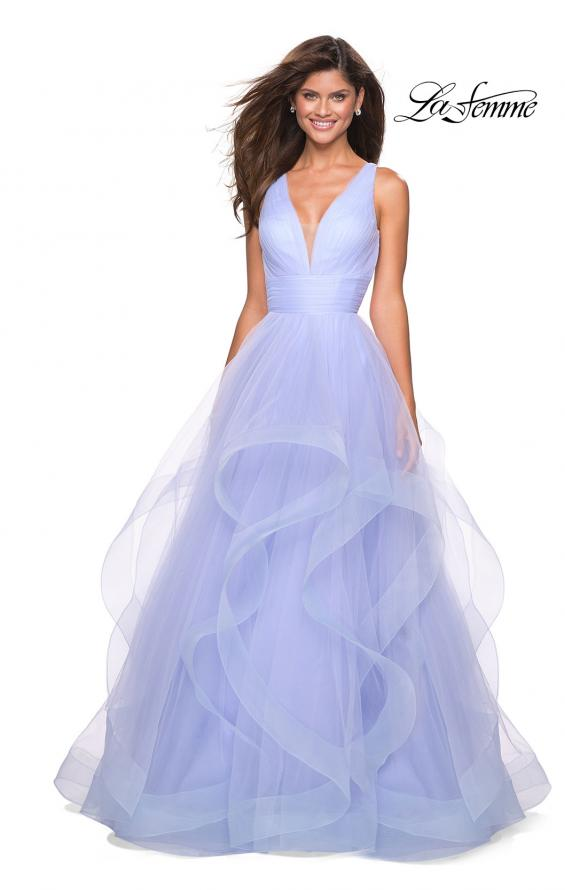 Picture of: Long Tulle Evening Gown with Plunging Neckline, Style: 27628, Main Picture