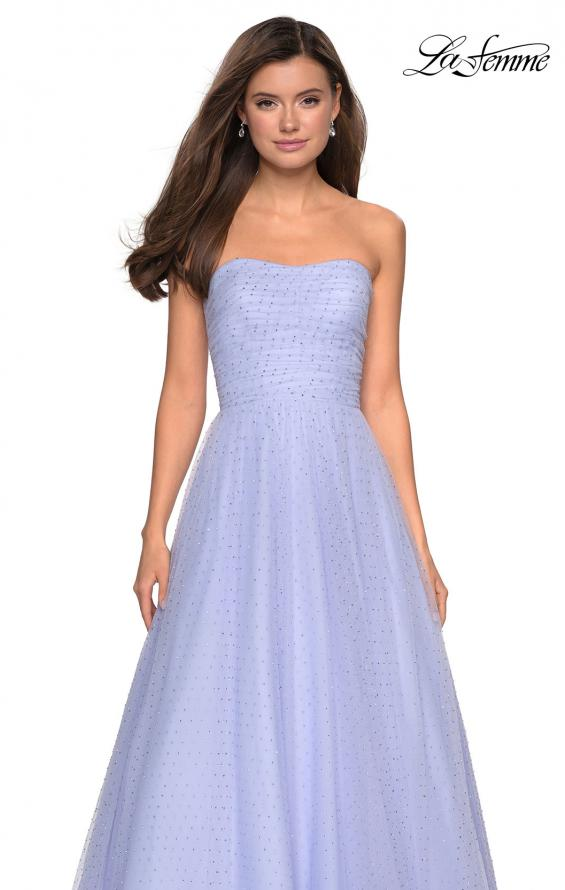 Picture of: Strapless Fully Rhinestone A-Line Prom Dress in Lilac Mist, Style: 27630, Detail Picture 9