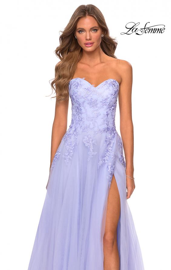 Picture of: Strapless Tulle Dress with Cascading Floral Detail in Lilac Mist, Style: 28599, Detail Picture 10