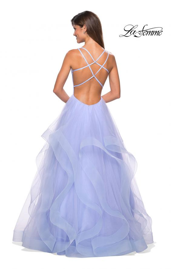Picture of: Long Tulle Evening Gown with Plunging Neckline, Style: 27628, Back Picture
