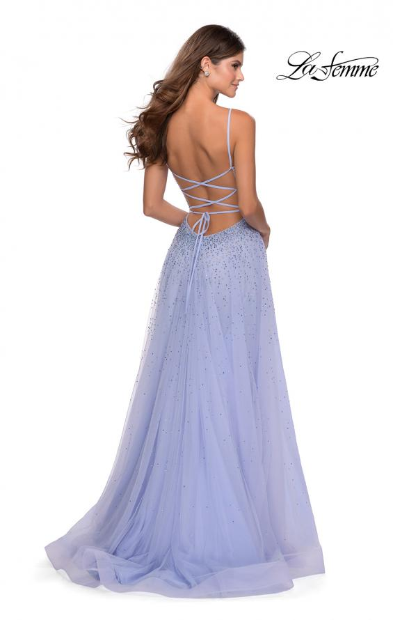 Picture of: A-line Tulle Dress with Beaded Bodice and Pockets in Lilac Mist, Style: 28583, Back Picture