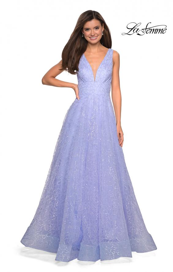Picture of: Sequin Print Ball Gown with Deep V and Pockets in Lilac Mist, Style: 27323, Detail Picture 1