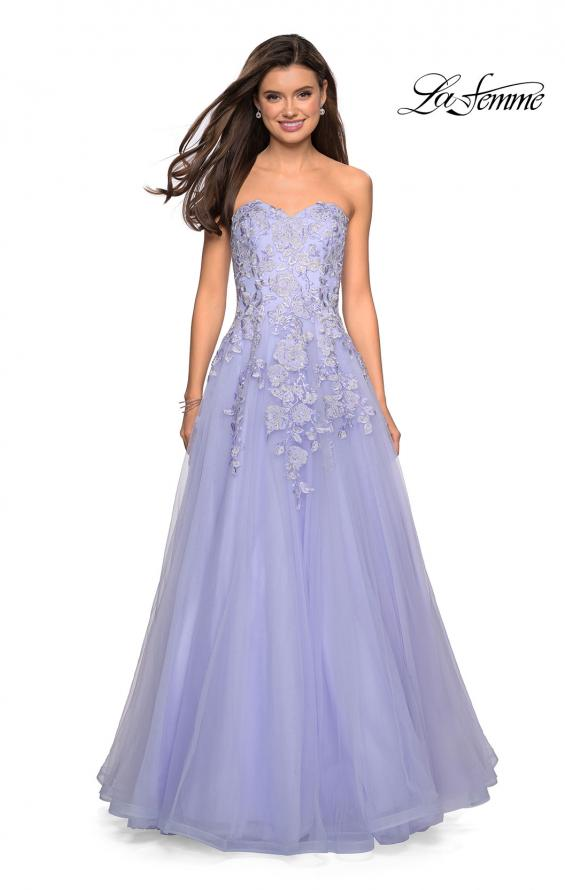 Picture of: Lace Bodice Tulle Prom Dress with Sweetheart Neckline in Lilac Mist, Style: 27508, Back Picture