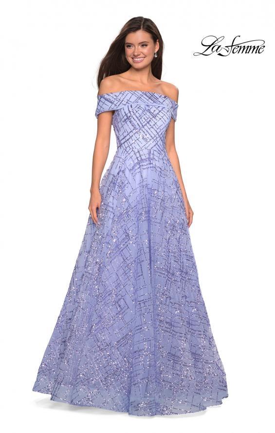 Picture of: sequin Ball Gown with Off the Shoulder Top in lilac Mist, Style: 27577, Detail Picture 1