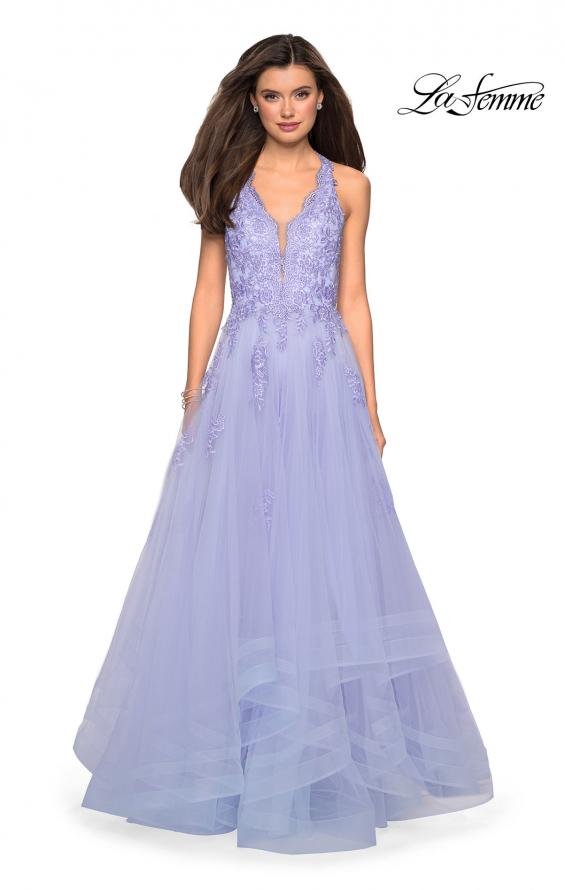 Picture of: Racer Back Lace Embellished Floor Length Ball Gown in Lilac Mist, Style: 27603, Detail Picture 1