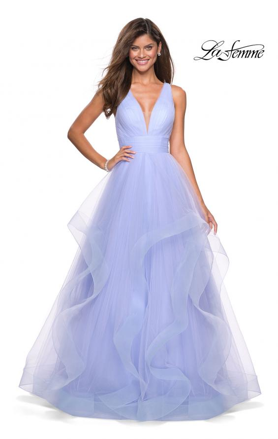 Picture of: Long Tulle Evening Gown with Plunging Neckline, Style: 27628, Detail Picture 2