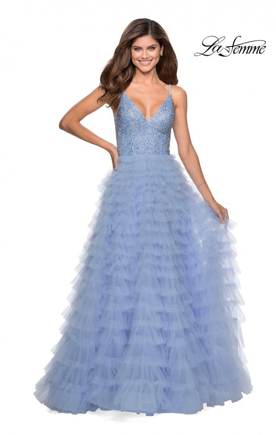 Picture of: Layered Tulle Prom Dress with Sheer Rhinestone Top in Lilac Mist, Style: 28788, Detail Picture 2