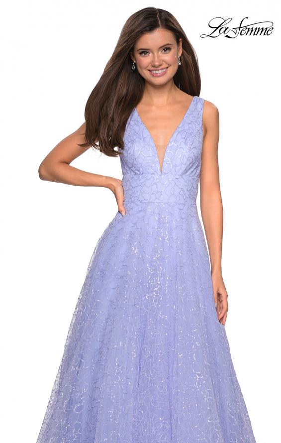 Picture of: Sequin Print Ball Gown with Deep V and Pockets in Lilac Mist, Style: 27323, Detail Picture 3
