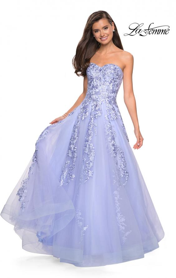 Picture of: Strapless Tulle Prom Dress with Lace Appliques, Style: 27269, Detail Picture 4