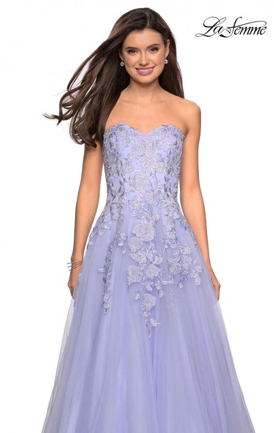 Picture of: Lace Bodice Tulle Prom Dress with Sweetheart Neckline in Lilac Mist, Style: 27508, Detail Picture 4