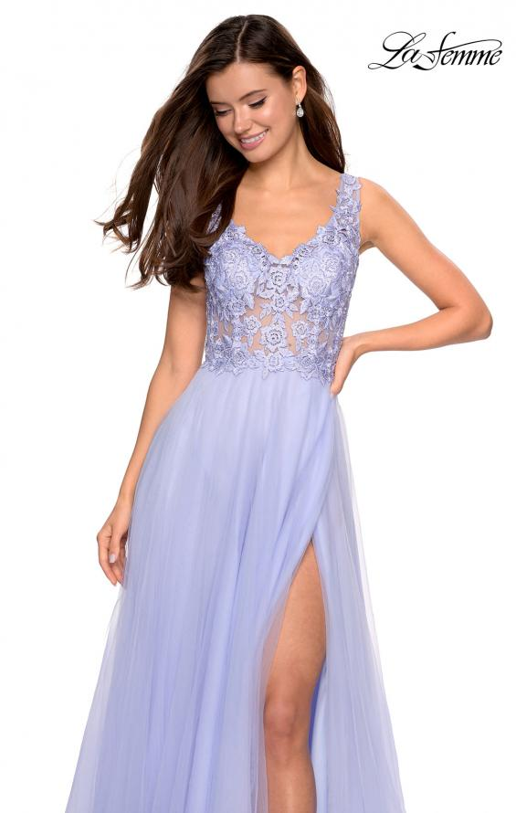 Picture of: Long Tulle Gown with Embellished Sheer Bodice, Style: 27574, Detail Picture 4