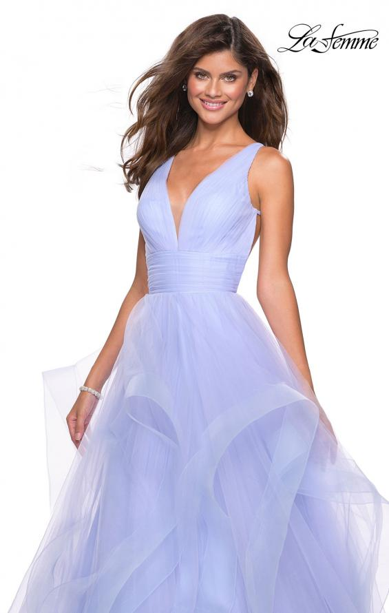 Picture of: Long Tulle Evening Gown with Plunging Neckline, Style: 27628, Detail Picture 4