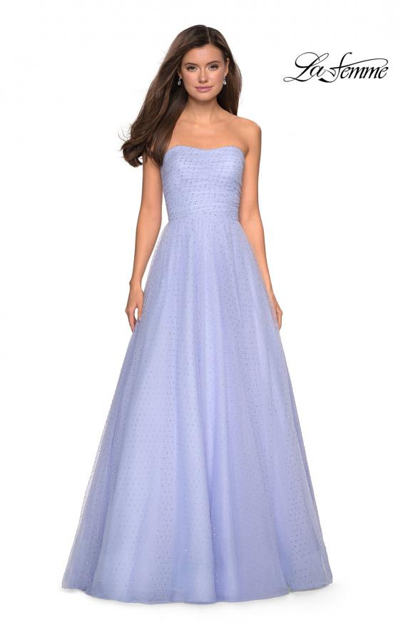 Picture of: Strapless Fully Rhinestone A-Line Prom Dress in Lilac Mist, Style: 27630, Detail Picture 4