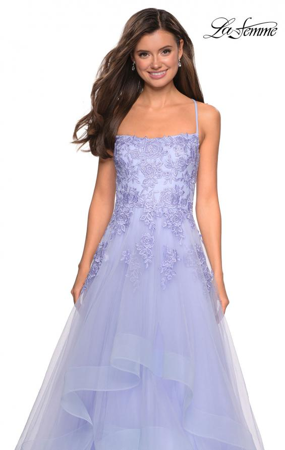 Picture of: Layered Tulle Dress with Lace Detail and Strappy Back in Lilac Mist, Style: 27694, Detail Picture 4