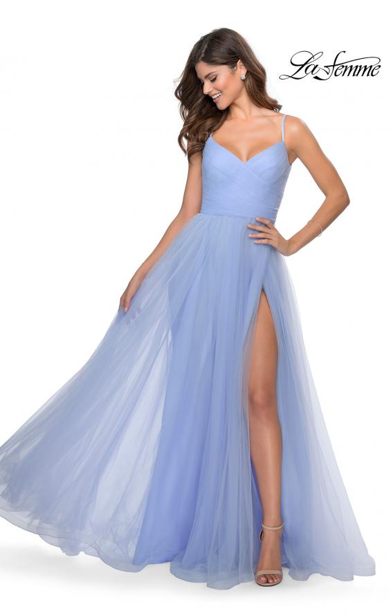 Picture of: Long Tulle Pleated Bodice Prom Gown with Pockets in Lilac Mist, Style: 28123, Detail Picture 4