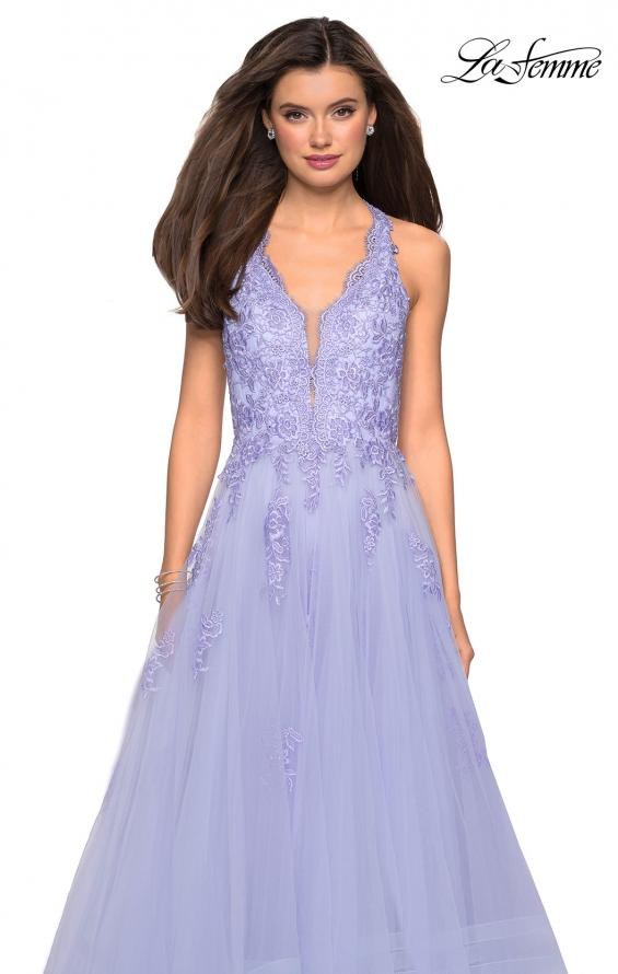 Picture of: Racer Back Lace Embellished Floor Length Ball Gown in Lilac Mist, Style: 27603, Detail Picture 6