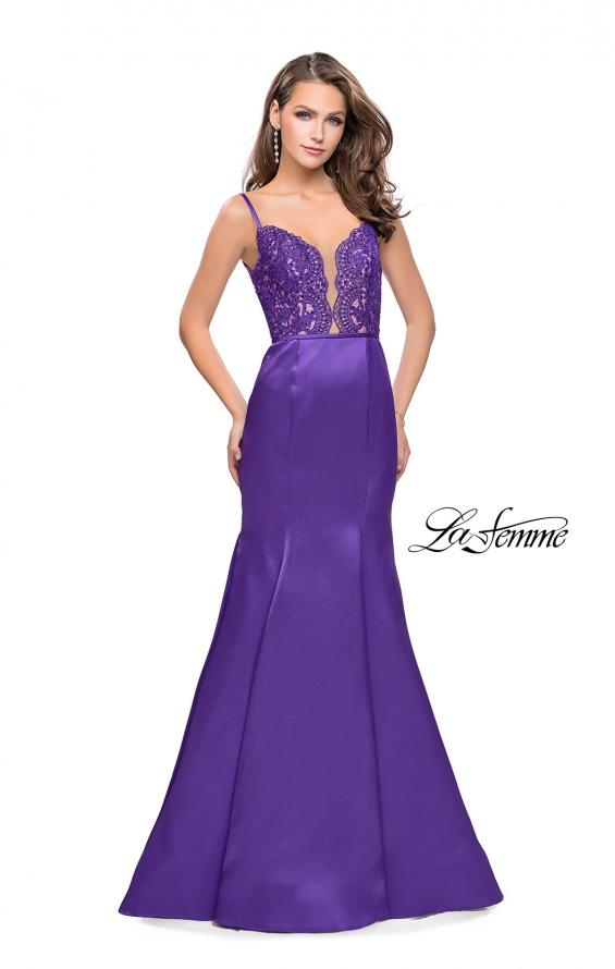 Picture of: Mikado Prom Dress with Lace Beaded Bodice and Low Back, Style: 25751, Main Picture