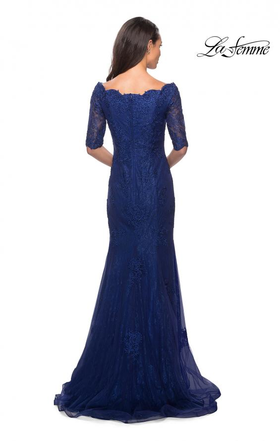 Picture of: Floor Length Lace Dress with Rhinestone Accents, Style: 26943, Back Picture